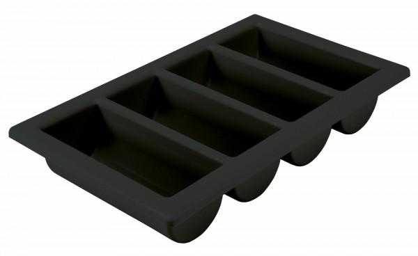 Besteckmulde 1/1 GN mit Griffleiste schwarz Polypropylen, schwarz. Mit Griffleis