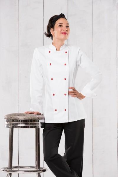 Kochjacke Damen, Armtasche, langarm, weiß Gr. XL