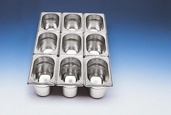 GN Behälter 1/9 x 100 mm Edelstahl Chrom-Nickel-Stahl 18/8, rostfrei.