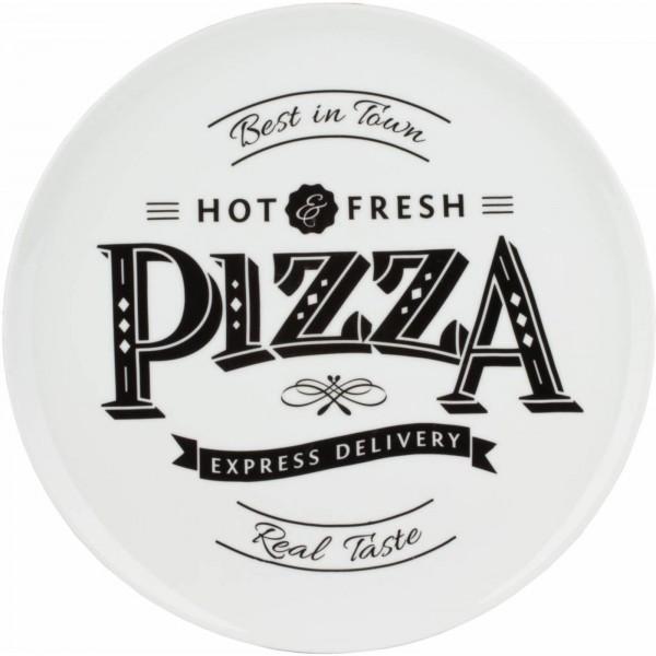 """Pizzateller weiß mit Dekor Ø 30,0 cm, Porzellan, VPE 6 """"Schrift schwarz"""""""