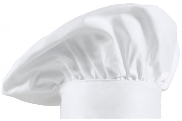 Kochmütze franz. Form 2er Pack Farbe Weiß 100% Baumwolle