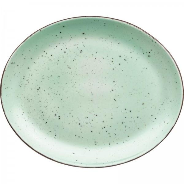 """""""Granja"""" mint-braun Platte flach oval 30,5x25,5cm VPE 6"""