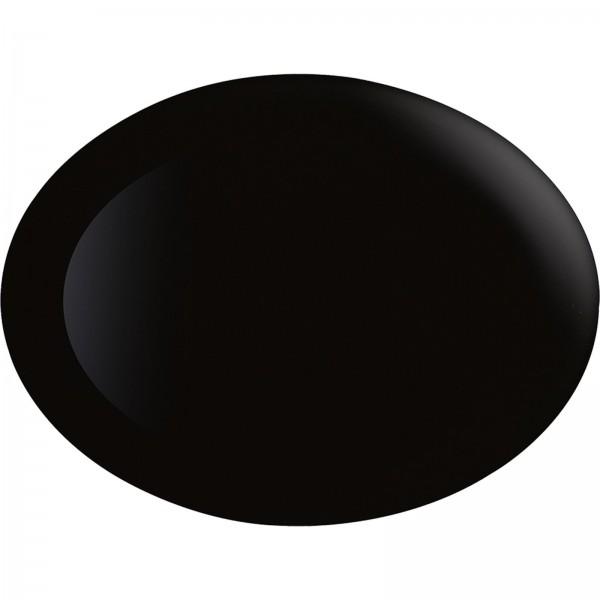 """Hartglasgeschirr """"Evolution"""" schwarz VPE 6 Platte Coup flach oval 33x25 cm"""