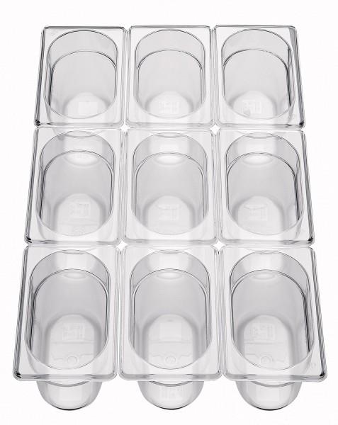 GN Behälter 1/9 x 100mm Polycarbonat 1,3L Polycarbonat, transparent, stapelbar,