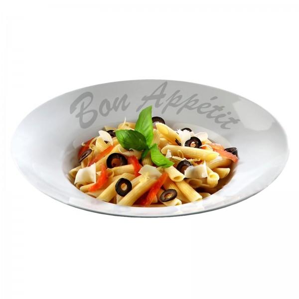 "Pastateller weiß/ farbig gemustert, Porzellan, VPE 6 ""Bon Appetit"", Ø 27,0 cm, r"