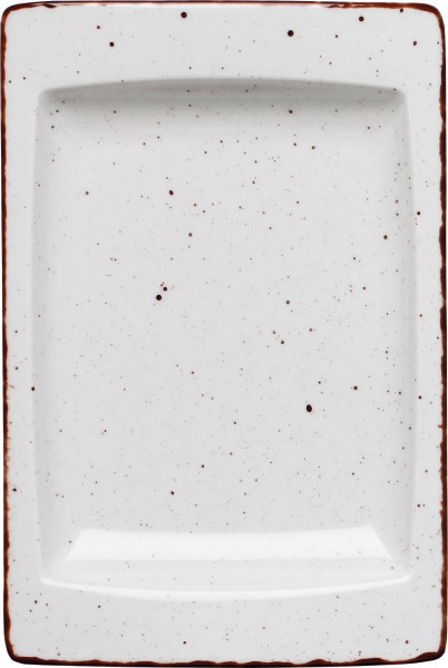 """Platte flach eckig """"Granja"""" 18x12cm weiß-braun VPE 6"""