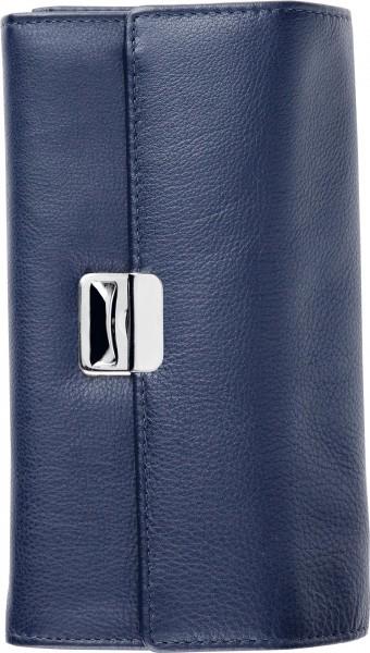 Kellnergeldbörse mit Schlüsselkette Rindnappa- Leder dunkelblau