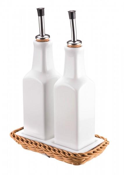 Menage Essig/Öl Porzellan weiß m. Korbunterteil beige