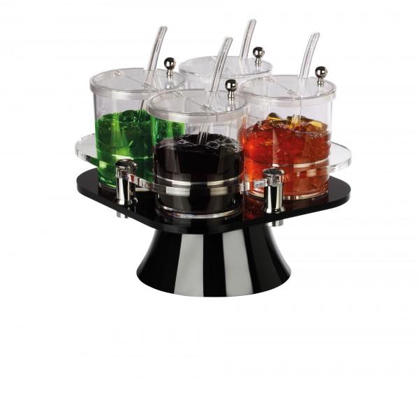 Buffetbar drehbar mit 4 Behältern à 0,75 L schwarz