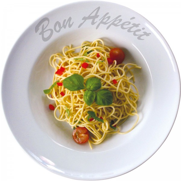 "Pastateller weiß/ farbig gemustert, Porzellan, VPE 6 ""Bon Appetit"", Ø 23,0 cm, r"