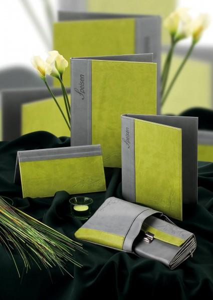 "Speisenkarte A4 ""Flora"" Limone Kunstleder. Ohne Transparenthüllen."