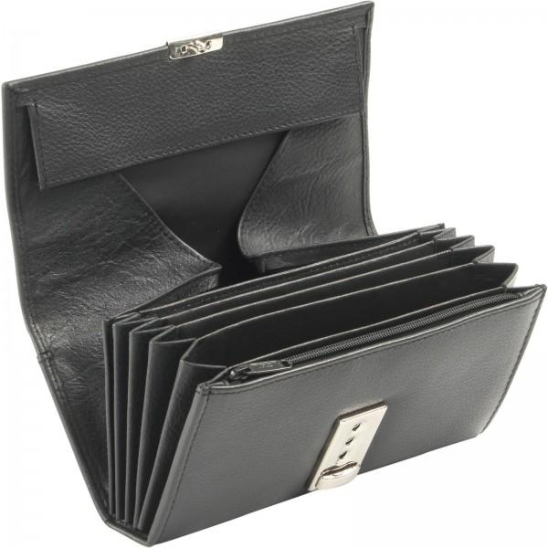Kellnerbörse Leder mit Nylongürtel schwarz 2-tlg. Set