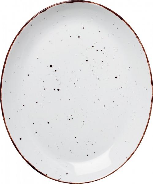 "Platte flach oval ""Granja"" 30,5x25,5cm weiß-braun VPE 6"