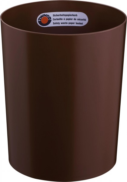 Papierkorb schwer entflammbar 13L Ø25cm H:30cm braun
