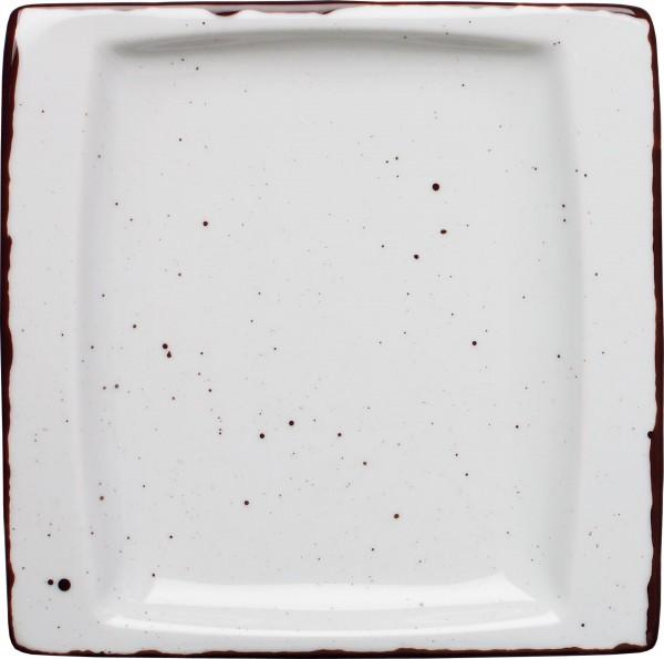"""Platte flach eckig """"Granja"""" 18x18cm weiß-braun VPE 6"""