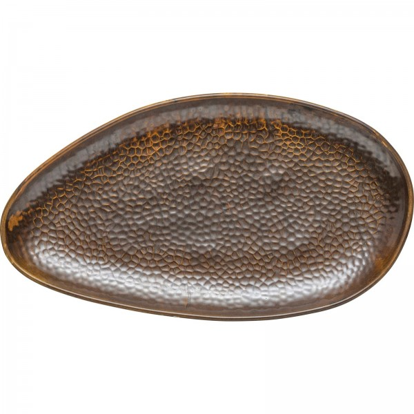 """Rusty"" Platte flach oval 38x21cm braun VPE 3"