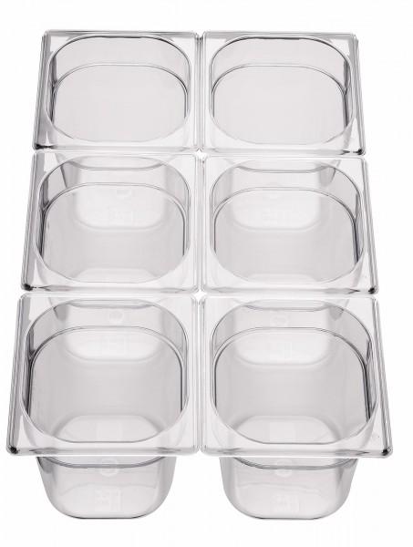 GN Behälter 1/6 x 100mm Polycarbonat 2,1L Polycarbonat, transparent, stapelbar,