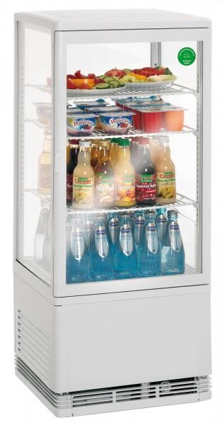 Mini-Kühlvitrine 78 Liter mit Beleuchtung weiß