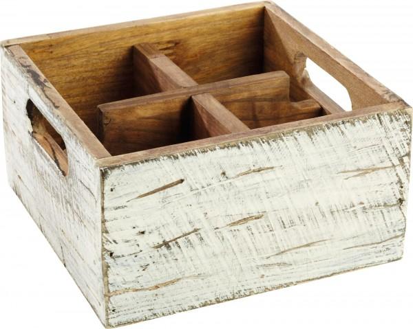 """Tischbox """"Vintage"""" 17x17x10cm, weiß, Pinienholz Pinienholz, weiß. Herausnehmbare"""